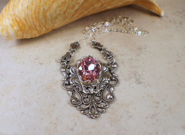Gothic Rose Swarovski Crystal Necklace