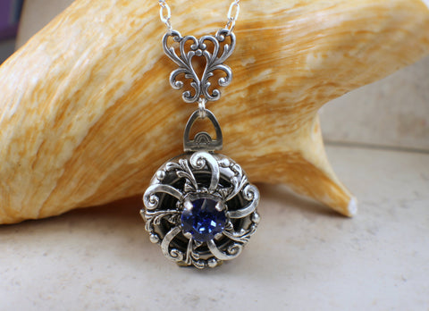 Sapphire Blue Crystal Multi Photo Locket