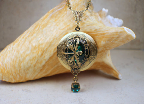 Emerald Swarovski Crystal Photo Locket with Dragonfly