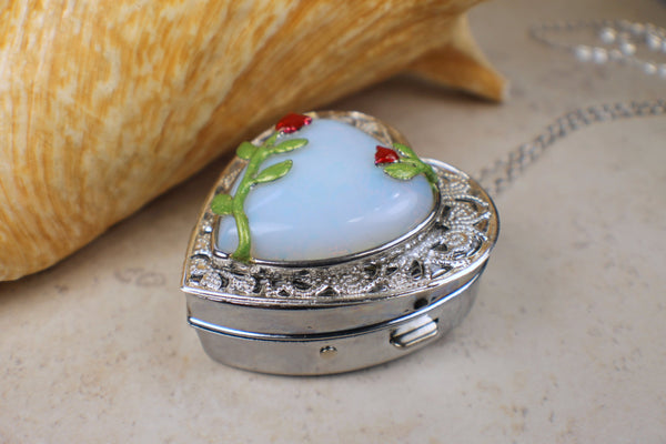 White Quartz Music Box Locket with Red Roses