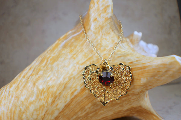 Real Cottonwood Leaf Pendant