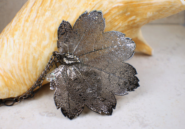 Real Cottonwood Leaf Pendant Electoplated in Black