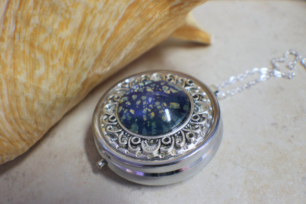 Sapphire Blue Glass Opal Music Locket