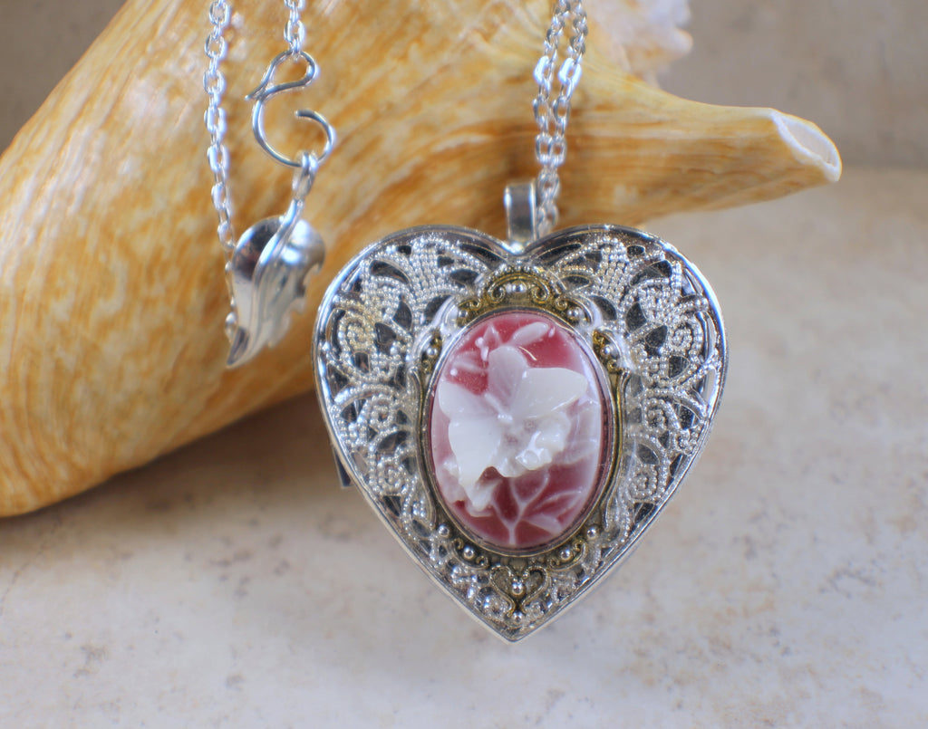 Butterfly Cameo Music Box Locket