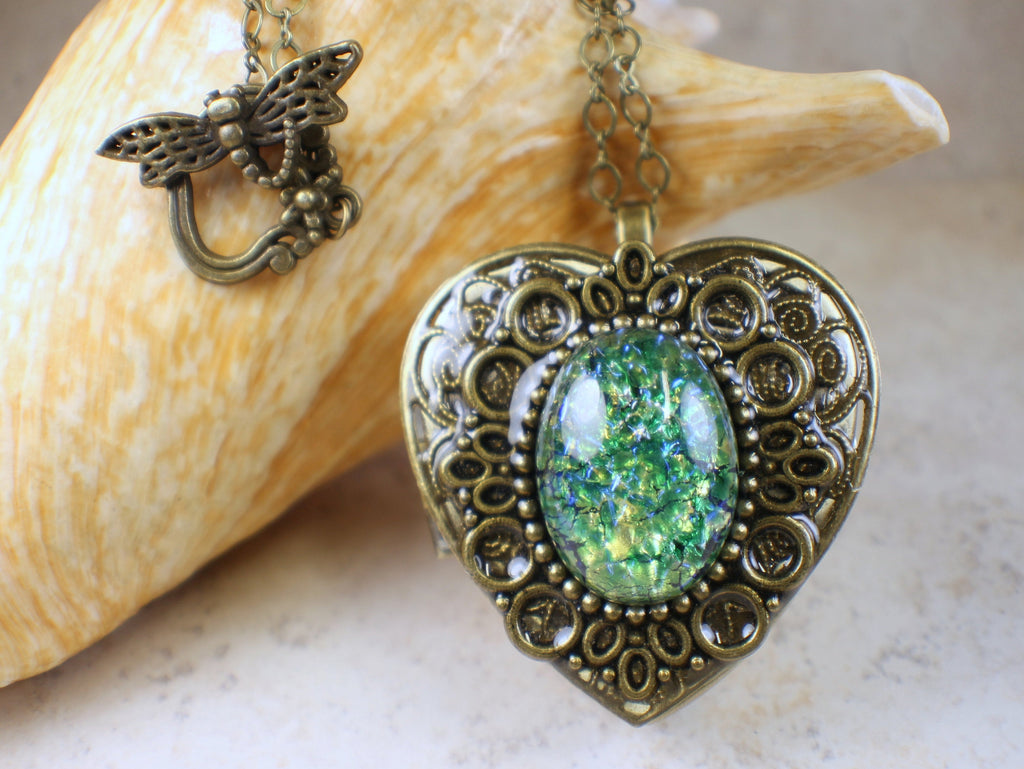 Green Sapphire Glass Opal Music Box Locket