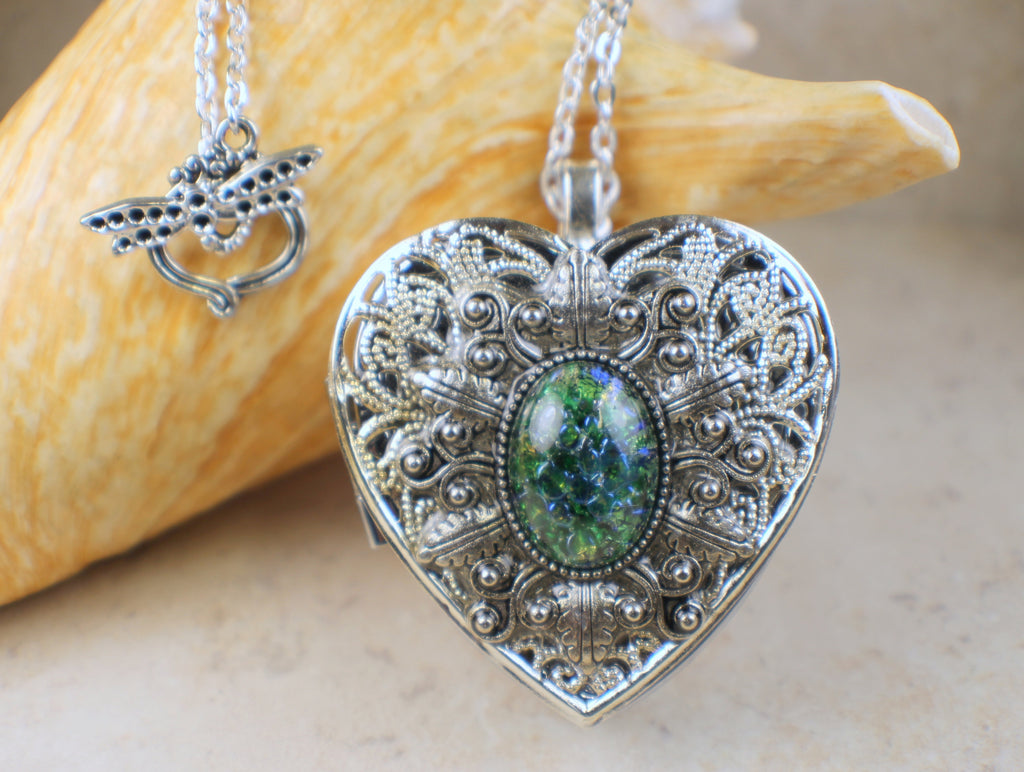 Green Emerald Glass Opal Music Box Locket