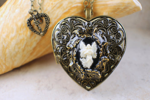 Angel Cameo  Music Box Locket