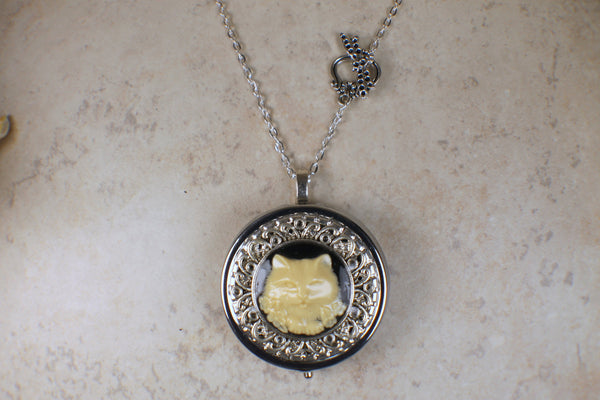 Cat Cameo Music Box Locket