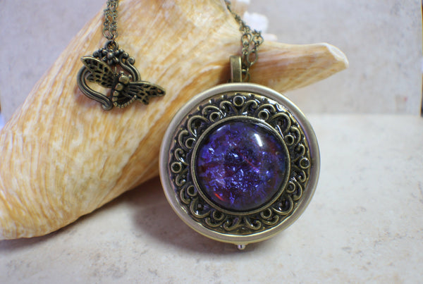 Dragon's Breath Red Glass Opal Round Music Locket