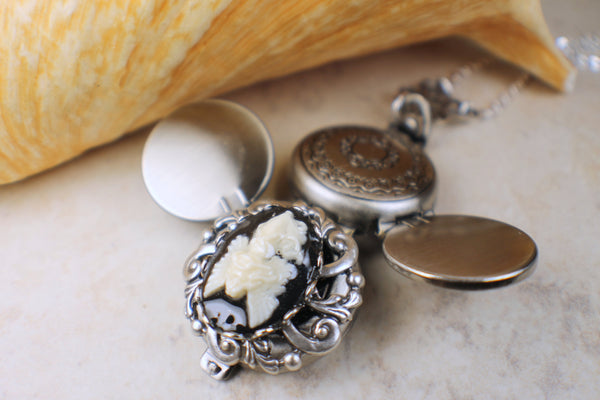 Angel Cameo Photo Locket Silver