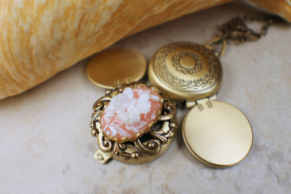 Butterfly Cameo Photo Locket Bronze