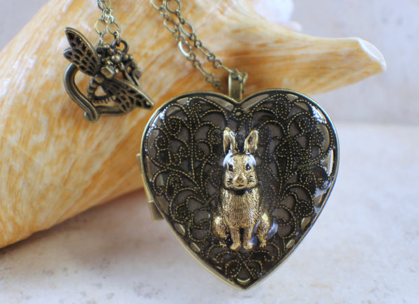 Bronze Rabbit Music Box Locket