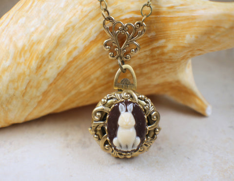 Rabbit Cameo Photo Locket Bronze