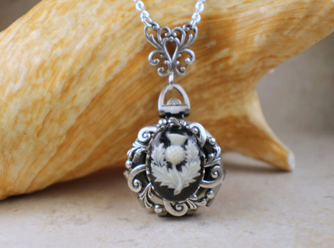 Thistle Cameo Multi Photo Locket Silver