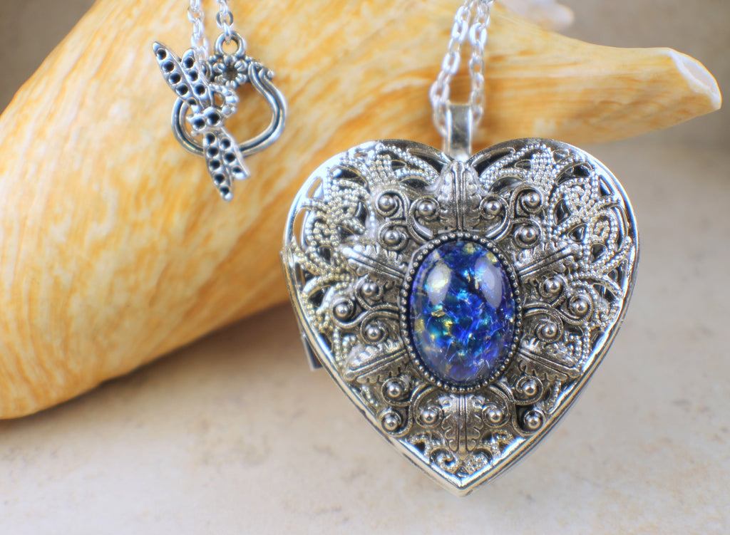 Blue Sapphire Glass Opal Music Box Locket