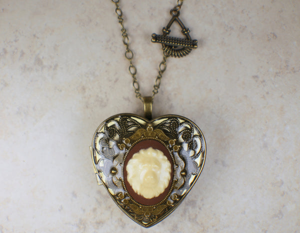 Lion Cameo  Music Box Locket