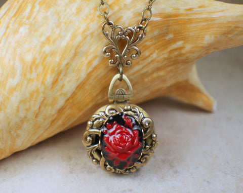 Red Rose Cameo Photo Locket Bronze