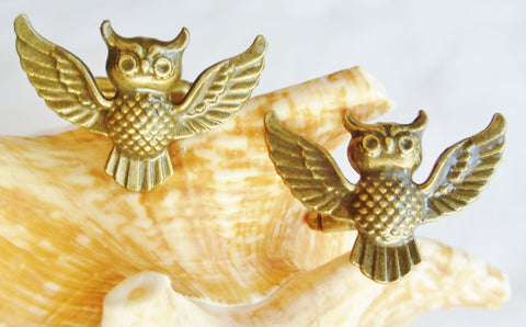 Owl cufflinks, bronze owl cufflinks - Char's Favorite Things - 1
