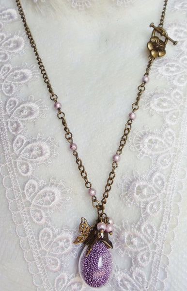Teardrop glass orb necklace filled with delicate purple fiber beads and bronze accents - Char's Favorite Things - 2