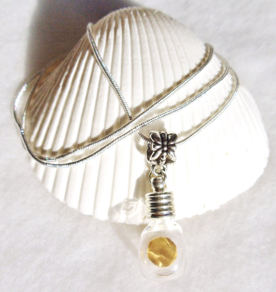 Vial necklace, gold round is encased in vial necklace on sterling silver plated chain - Char's Favorite Things - 2