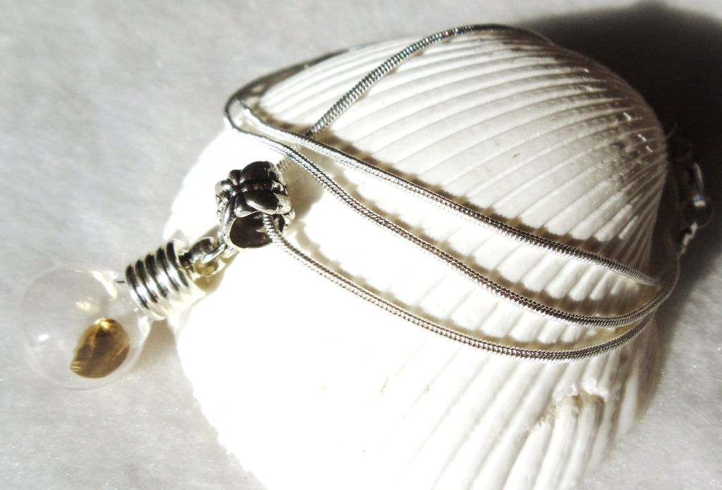 Vial necklace, gold round is encased in vial necklace on sterling silver plated chain - Char's Favorite Things - 1
