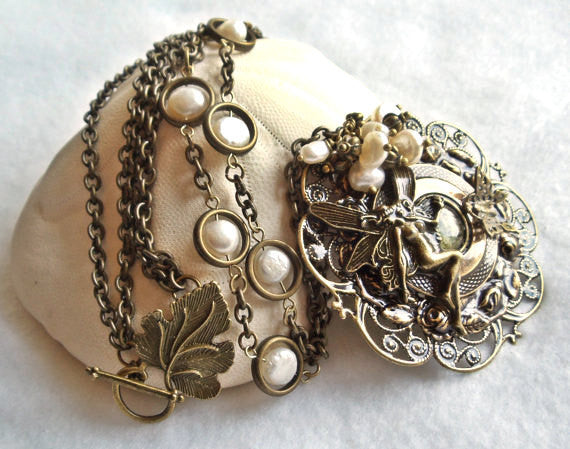 Fairy pendant with layers of bronze rings and floral filigree - Char's Favorite Things - 3