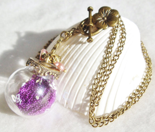 Round glass orb necklace filled with delicate purple fiber beads, hearts and bronze chain - Char's Favorite Things - 5