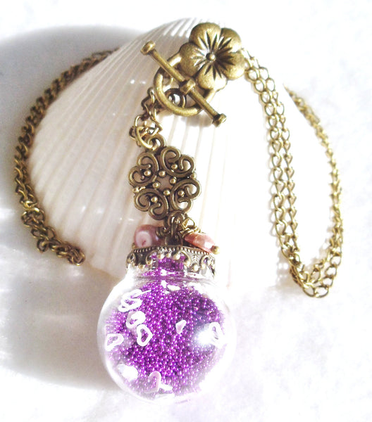 Round glass orb necklace filled with delicate purple fiber beads, hearts and bronze chain - Char's Favorite Things - 4