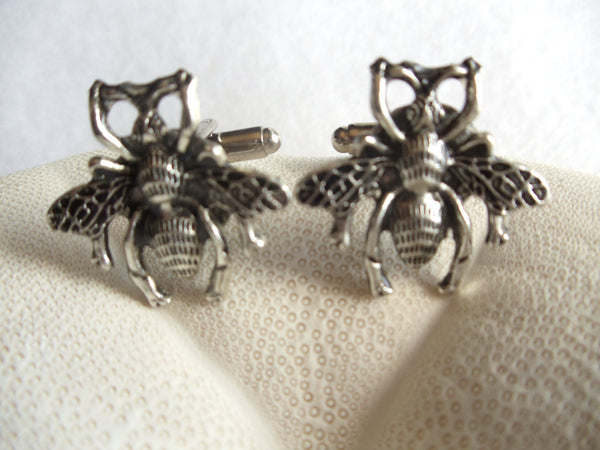 Bumble Bee cufflinks, silver bumble bee cufflinks - Char's Favorite Things - 2
