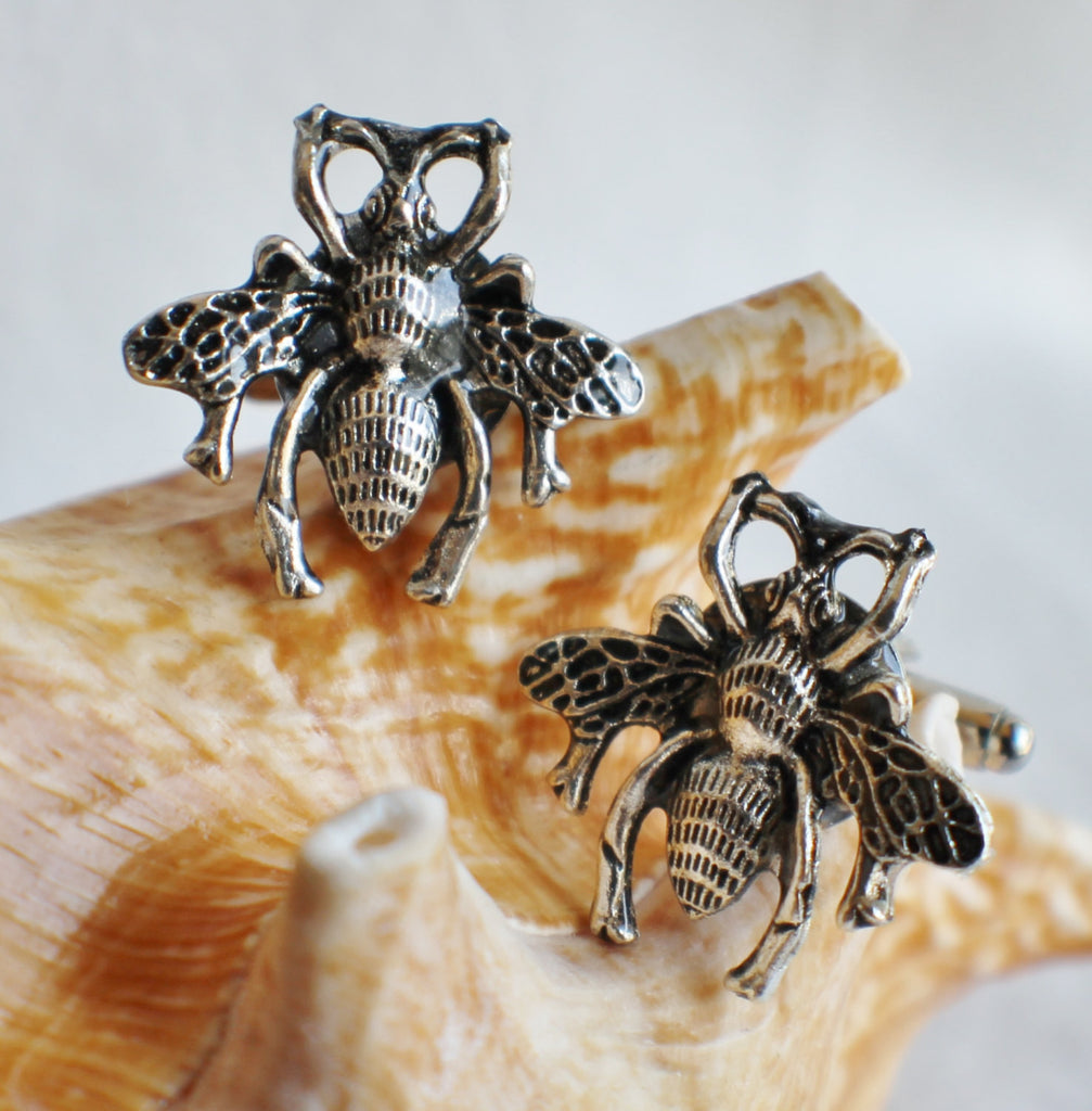 Bumble Bee cufflinks, silver bumble bee cufflinks - Char's Favorite Things - 1