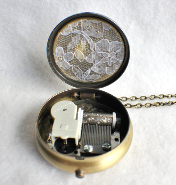 Music box locket,  round locket with music box inside, in bronze with rose on front cover. - Char's Favorite Things - 5