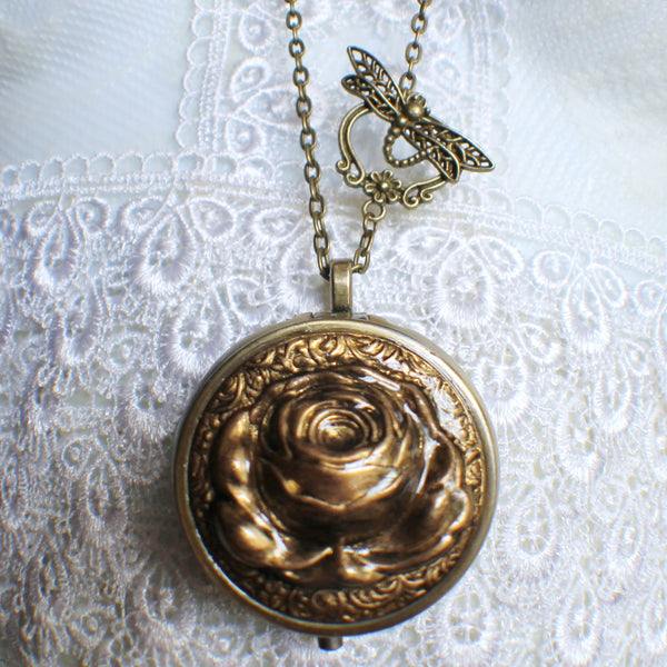Music box locket,  round locket with music box inside, in bronze with rose on front cover. - Char's Favorite Things - 4