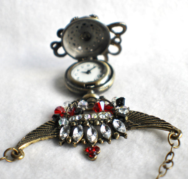 Octopus pocket watch pendant, steampunk style, octopus with rhinestone crown. - Char's Favorite Things - 4