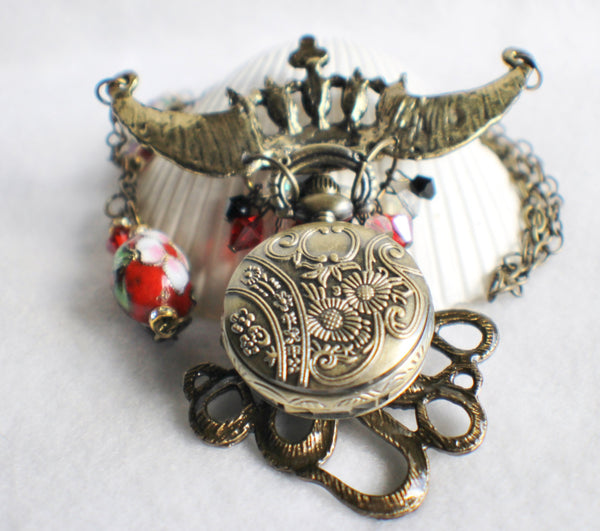 Octopus pocket watch pendant, steampunk style, octopus with rhinestone crown. - Char's Favorite Things - 5