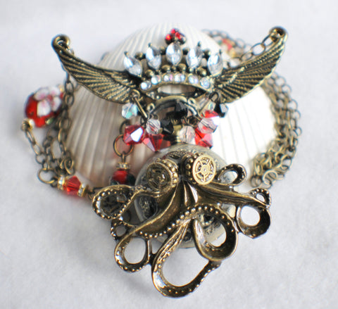 Octopus pocket watch pendant, steampunk style, octopus with rhinestone crown. - Char's Favorite Things - 1