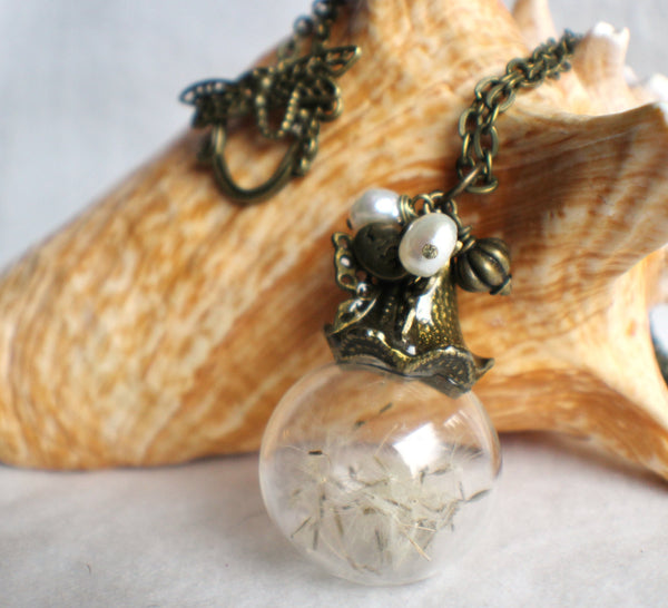 Dandelion seed glass orb on antique bronze chain hanging with freshwater pearls and butterfly - Char's Favorite Things - 1
