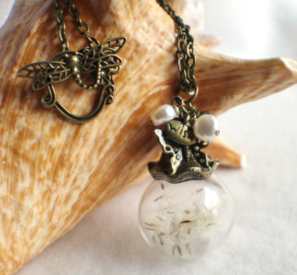 Dandelion seed glass orb on antique bronze chain hanging with freshwater pearls and butterfly - Char's Favorite Things - 3