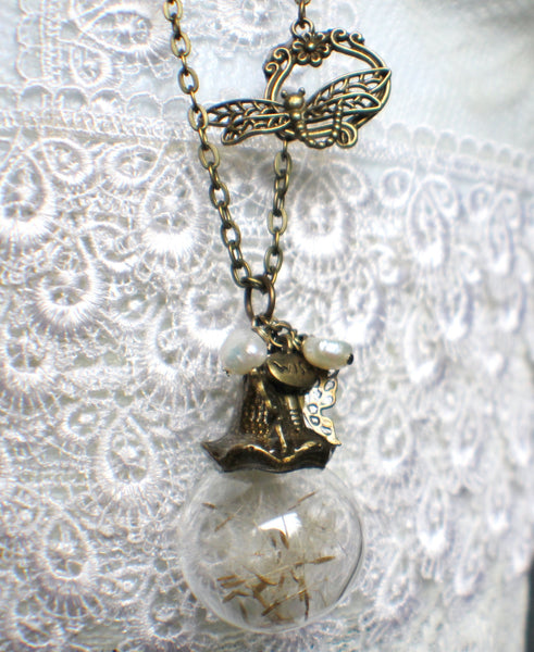 Dandelion seed glass orb on antique bronze chain hanging with freshwater pearls and butterfly - Char's Favorite Things - 2