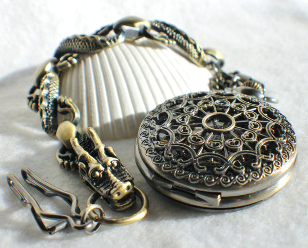 Bronze dragon pocket watch, men's mechanical  pocket watch with dragon watch fob. - Char's Favorite Things - 2