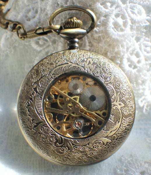 Bronze dragon pocket watch, men's mechanical  pocket watch with dragon watch fob. - Char's Favorite Things - 5