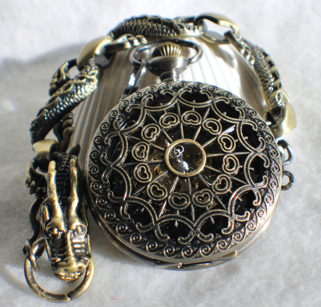 Bronze dragon pocket watch, men's mechanical  pocket watch with dragon watch fob. - Char's Favorite Things - 1