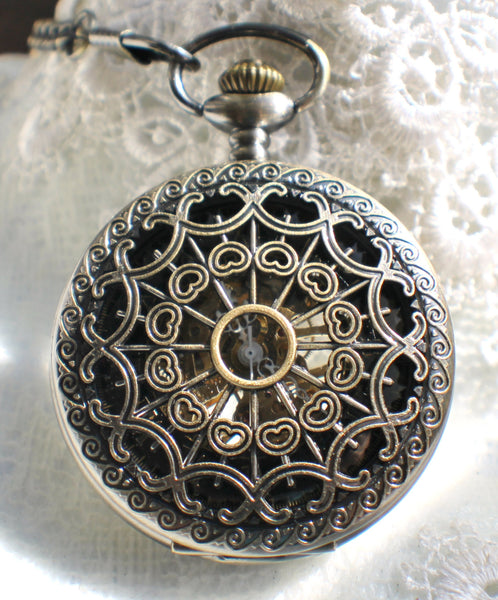 Bronze dragon pocket watch, men's mechanical  pocket watch with dragon watch fob. - Char's Favorite Things - 3