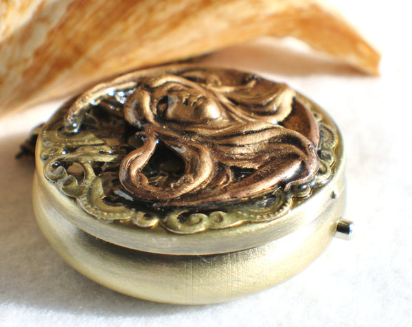 Music box locket, round locket with music box inside, in bronze with maiden in the moon on front cover - Char's Favorite Things - 2