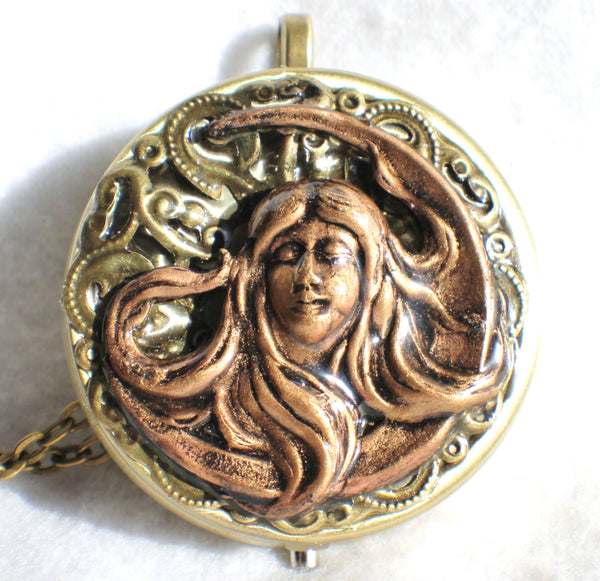Music box locket, round locket with music box inside, in bronze with maiden in the moon on front cover - Char's Favorite Things - 3