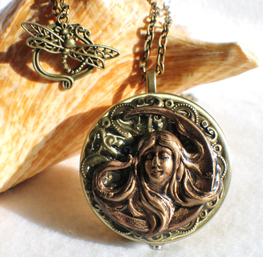 Music box locket, round locket with music box inside, in bronze with maiden in the moon on front cover - Char's Favorite Things - 1