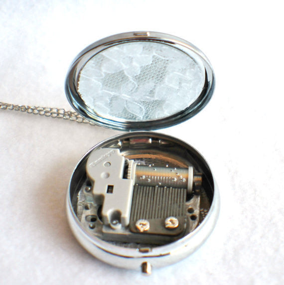 Music box locket,  round locket with music box inside, in silver with Love and Butterfly  Cabochon - Char's Favorite Things - 5