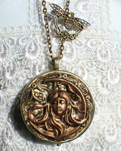 Music box locket, round locket with music box inside, in bronze with maiden in the moon on front cover - Char's Favorite Things - 4