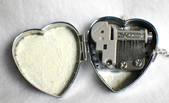 Music box locket, heart shaped locket with music box inside, in silver tone with Love and Butterfly Cabochon - Char's Favorite Things - 5