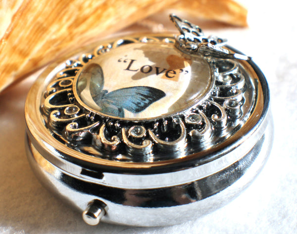 Music box locket,  round locket with music box inside, in silver with Love and Butterfly  Cabochon - Char's Favorite Things - 2