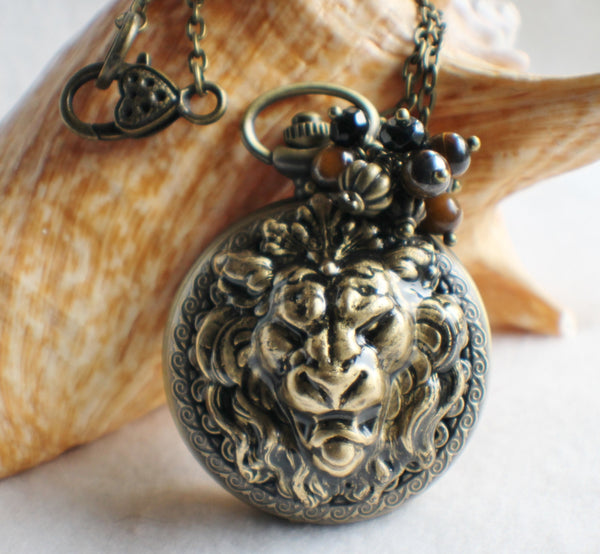 Lion watch pendant, pocket watch with lion head mounted on front cover. - Char's Favorite Things - 1